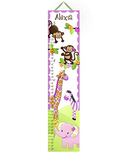 Toad and Lily Canvas GROWTH CHART Girly Purple Jungle Animals Girls Bedroom Baby Nursery Wall Art GC0057 by Toad and Lily