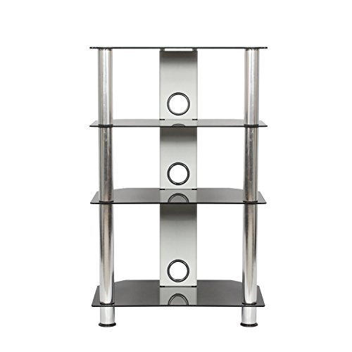 Silver Fi Rack Hi (Mountright Mountright UMShs Black Glass HIFI AV Dvd Ps3 Wii Xbox Amplifier Speaker Rack Stand - Bright Chrome Legs)