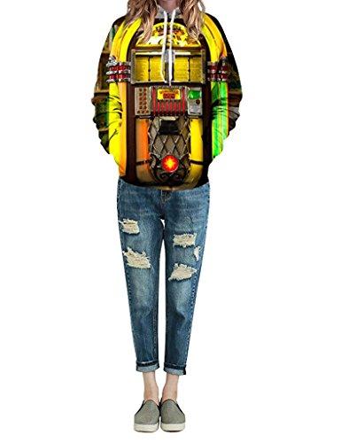 Minetom Mujer Hombre Sudaderas Con Capucha Unisexo Bolsillo Deportivas Sudadera Pulóver Dibujo 3D Pareja Hoodies Sudaderas Jukebox