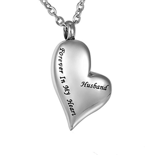 Cremation Urn Ashes Necklace Husband Forever in My Heart Stainless Steel Keepsake Waterproof Memorial Pendant