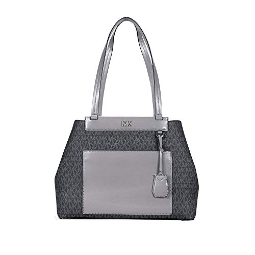 meredith medium logo and leather tote | Michael Kors Meredith Medium Logo and Leather Tote- Black Combo