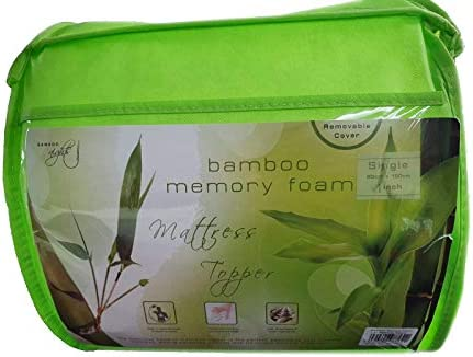 Bamboo Memory Foam Mattress Topper Enhancer - 5 UK Sizes And 2 Thickness Choice - Pressure Relief Soft Toppers With Removable Cover (Single Bed, 1 inch / 2.5 cm Thick Topper)