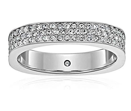 - Michael Kors MKJ5526040 Flat Edge Ring Silver Tone Crystal Pave Size 9