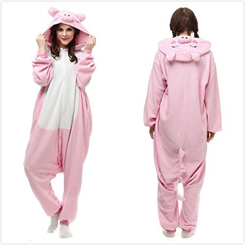 Yxjdress Women Pink Pig Adult Onesies Pajamas Cheap Kigurumi Halloween Costume (Cute Halloween Costumes For Adults)