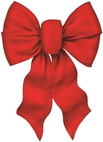 Weatherproof Set of 12 Red Outdoor Christmas Wreath Bows 21 Inches High x 11 Inches Wide