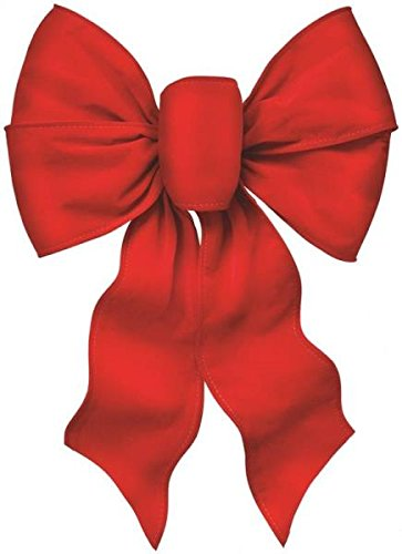 "(Rocky Mountain Goods Large Wired Red Bow - 12"" wide by 20"" long - Christmas wreath bow - Great for large gifts - Indoor / outdoor - Hand tied in USA - Waterproof Velvet - Attachment tie)"