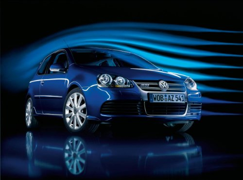 Volkswagen Golf R32 (2006) Car Art Poster Print on 10 mil Archival Satin Paper Blue Front Side Studio View 24