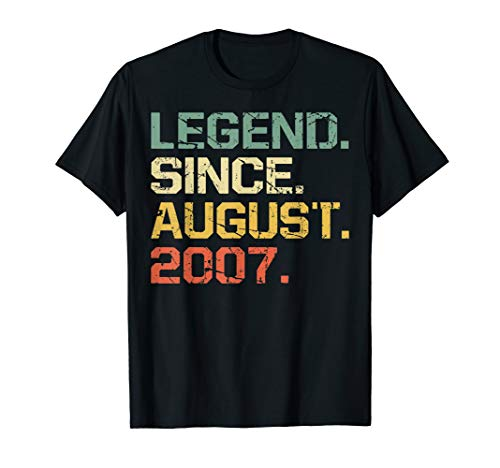 Legend Since August 2007 T-Shirt- 12 Years Old Shirt Gift (Best Christmas Gifts 2019 For 12 Year Olds)