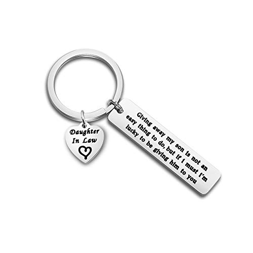 ENSIANTH Daughter in Law Keychain Wedding Gift Jewelry from Mother in Law Gift for Bride from Mother of Groom (Daughter in Law Keychain)