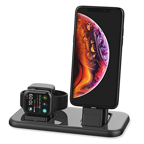 BEACOO Charging Stand for Apple Watch Series 4, 2 in 1 Charging Dock for iPhone Airpods Charging Station for iWatch 4/3/2/1/iPhone Xs/X Max/XR/X/8/8Plus/7/7 Plus /6S /6S Plus