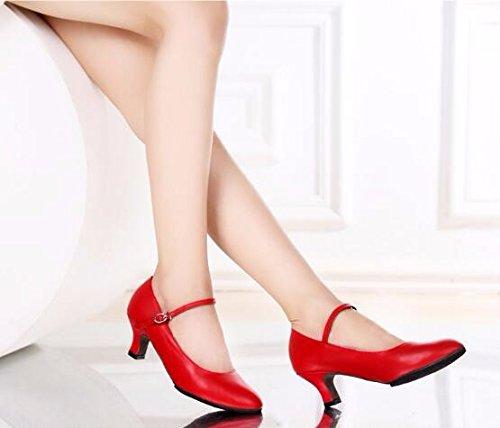 SQIAO-X- Scarpe da ballo Kraft chiusura fondo morbido, per adulti di ballo latino Square Dance ballo sociale e danza moderna Professional scarpe da ballo, nero,41