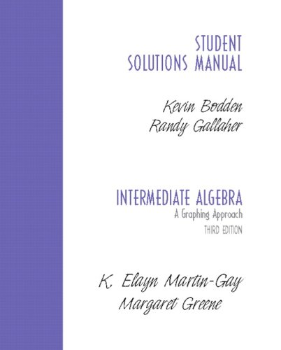 Student Solutions Manual-Standalone for Intermediate Algebra A Graphing Approach