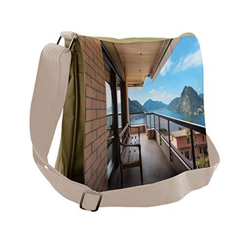 Lugano Messenger - Lunarable Modern Messenger Bag, Lugano Lake Panoramic View, Unisex Cross-body