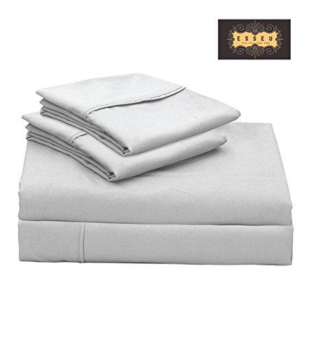 300tc Luxury Sheet Set (300 Thread Count 100% Cotton Sheet Set, Soft Sateen Weave,King Sheets, Deep Pockets,Home & Hotel Collection,Luxury Bedding-Bestseller- Super Sale 100% Cotton, Light Grey by ESSEU)