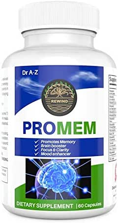 PROMEM Nootropic Brain Booster Supplement for Memory, Focus, Concentration, Brain Support, Mental Clarity, Motivation, Neuro Energy, Mind Enhancement, IQ, Extra Strength Pro Memory Loss Peak Focus