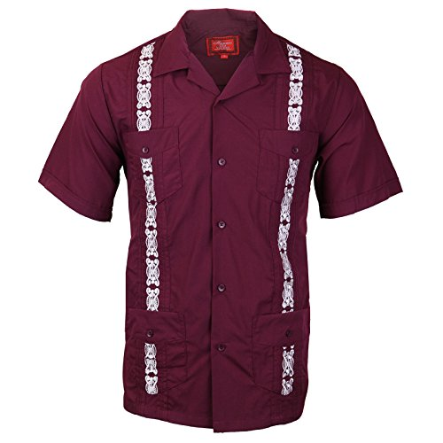 - vkwear Guayabera Men's Cuban Beach Wedding Short Sleeve Button-up Casual Dress Shirt (X-Large, Burgundy/White)