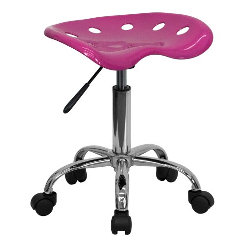 Flash Furniture Vibrant Pink Tractor Seat and Chrome Stool