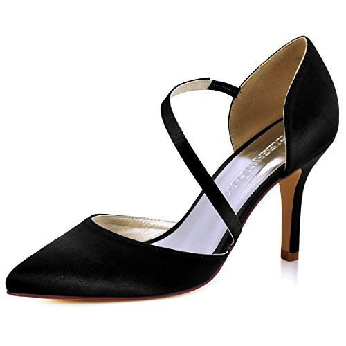 Black High Pumps Satin Heel (ElegantPark HC1711 Women High Heel Pumps Pointed Toe Strappy Satin Wedding Dress Shoes Black US 9)