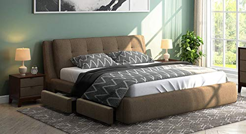 Urban Ladder Stanhope King Size Upholstered Bed with Pull Out Storage  Finish : Mist Brown