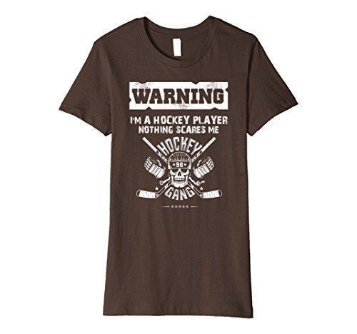 Womens Halloween Warning Hockey Player Skull Scares Premium T-Shirt Small Brown