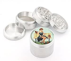 Vintage Pin Up Girl Design Medium Size 4pcs Aluminum Herbal or Tobacco Grinder # G50-92415-28