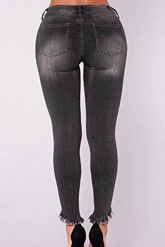 La Pantalon Plus Mujer Size Distressed Elastico Vaqueros Slim Legging gris Pantalones Casual XwXqzxfr