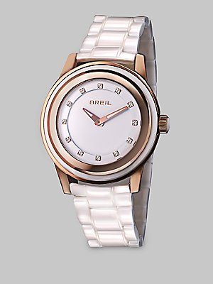 Breil Watch, Women's Orchestra White Ceramic Bracelet TW1013