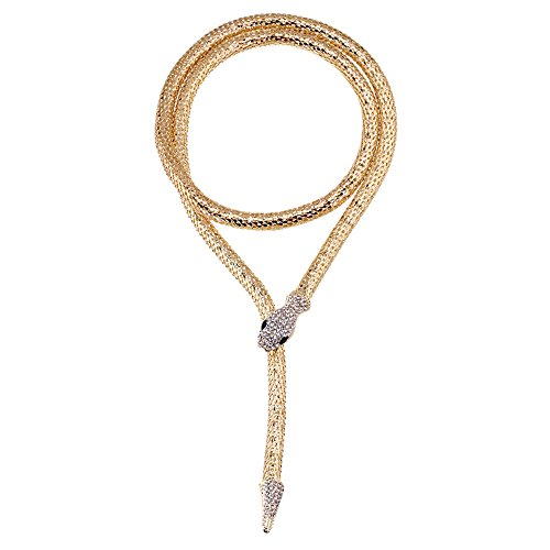 OUMOU Flexible Bendable Snake Jewelry Necklace Gothic Magnetic Choker Necklace - Versatile Can be Used as Waistband Bracelet (Gold)