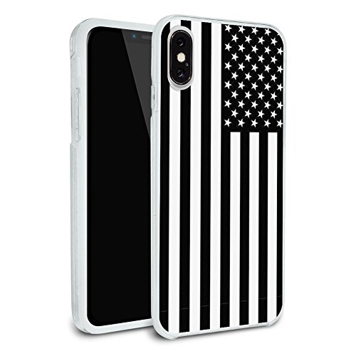 Subdued American USA Flag Black White Military Tactical Protective Slim Fit Hybrid Rubber Bumper Case Fits Apple iPhone X