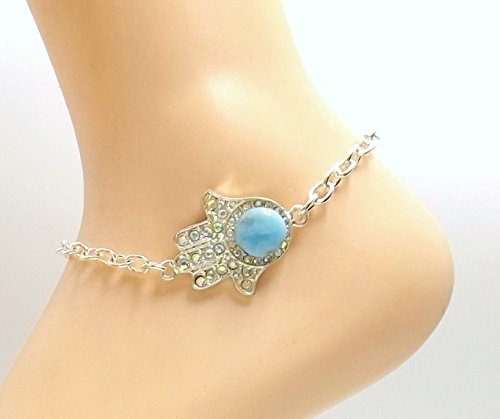 Larimar Rhinestone Hamsa Anklet Silver-plate Ankle Bracelet Calming Protection (Rhinestone Silverplate)