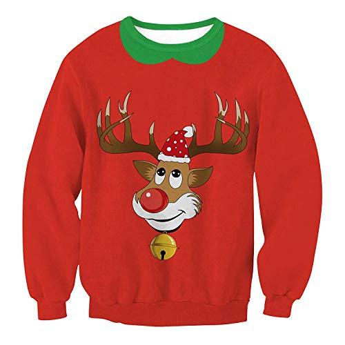 dsffsdg Women's&Men's Unisex Crew Neck 3D Ugly Christmas Sweatshirt Funny Xmas Design Pullover Sweater Reindeer Medium - Lambswool Argyle Crewneck Sweater