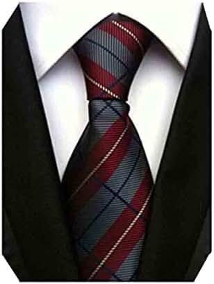 MINDENG New Classic Plaids Check Baby Blue Jacquard Woven Silk Men's Tie Necktie