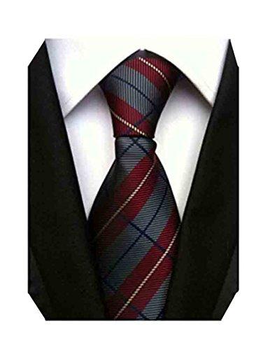 MENDENG New Classic Plaids Check Baby Blue Jacquard Woven Silk Men's Tie Necktie (Baby Blue Necktie)