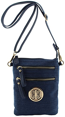 Pleated Top Zip Wristlet (Amy&Joey denim fabric multi pockets cross body bags with wristlet strap and gold tone emblem (Blue denim-tall))
