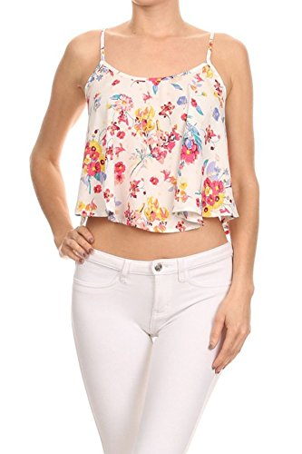 Simply Savvy Co Vintage Floral Loose Fit Crop Top Camisole Spaghetti Strap Tank top (Large) - Fashion Savvy Crop
