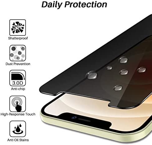 2 Pack LϟK Privacy Screen Protector Compatible for iPhone 12 and iPhone 12 Pro 5G 6.1 inch Tempered Glass High Clear, Case Friendly, Come with Installation Tray -Black