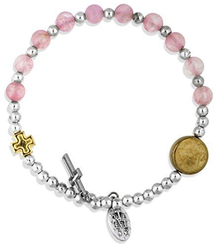 Rose Quartz Rosary Bracelet (Semi-Precious Gemstone Rosary Bracelet by Vatican Imports (Rose Quartz))