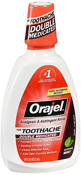 - Orajel Analgesic & Astringent Rinse for Toothache Soothing Mint - 16 oz, Pack of 3