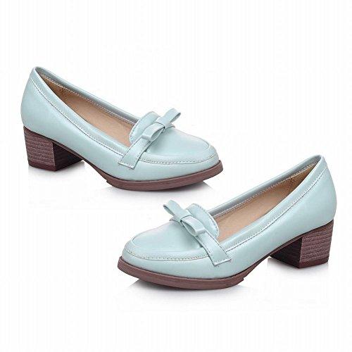 Show Shine Womens Fashion Sweet Bows Tacco Grosso Scarpe Blu Chiaro