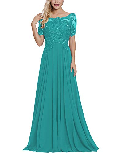 Turquoise Long Lace Applique Mother of The Bride Dresses with Sleeves Petite Bateau Neck Maxi Formal Evening Dress (Mother Of The Bride Dresses Under 100 Dollars)