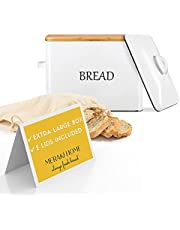 Bread Box for Kitchen Countertop with 2 Lids - Metallic Lid& Bamboo Lid - Large Bread Storage 13''x9.5''x7'' Holds 2+ Loaves - White Farmhouse Bread Box - Bread Container with Ventilation-XL Bread Bag