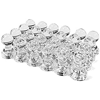 24 Clear Magnetic Push Pins - Perfect Magnets for Fridge, Calendars, Whiteboards, and Maps