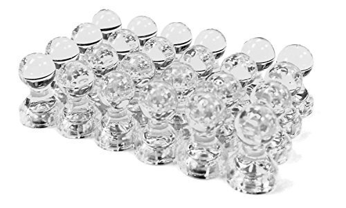 - 24 Clear Magnetic Push Pins - Perfect Magnets for Fridge, Calendars, Whiteboards, and Maps