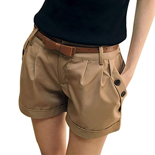 ❤️Sumeimiya Womens England Style Shorts, Fashion Solid Mid Waist Pants Summer Casual Buttons Shorts Pants Khaki