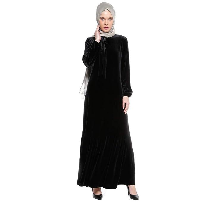 BOZEVON Vestido Largo Musulmán de Las Mujeres - Vestido de Las Batas de Terciopelo Suave - XL/Negro: Amazon.es: Ropa y accesorios