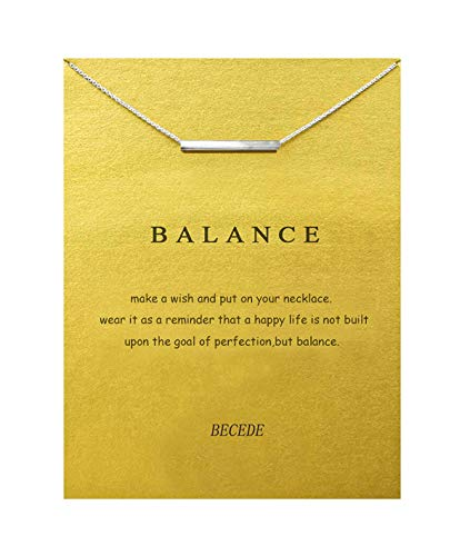 BECEDE Card Necklace Butterfly Palm Aliens Lotus Cat-Ears Lucky Bird Pendant Chain Necklace with Meaning Card (Balance bar-Sliver) ()