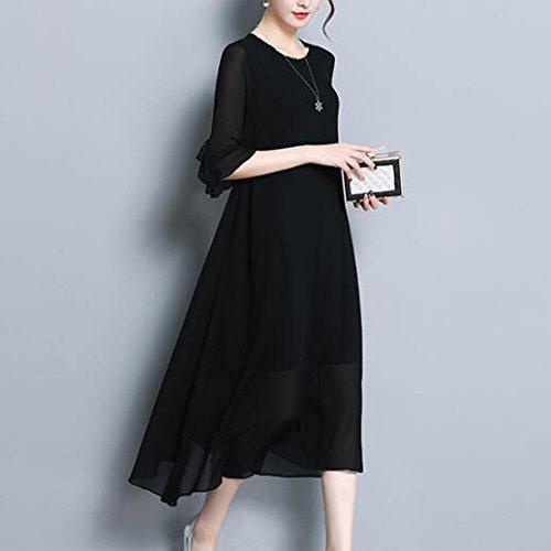Di Ampio Vestito Da Chiffon Elegante QSCG Comfort Donna Media Abito Elegante Casual Resort Black Da Dimensioni Di Lunghezza Grandi In v8qqwda