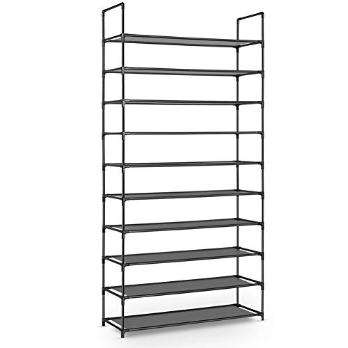 Plemo 10 Tiers Shoe Rack, Non-Woven Fabric Shoe Tower Organizer Cabinet, Space Saving Shoe Standing Storage, Waterproof and Durable, Tool-Free Assembly