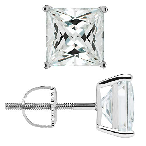 14K Solid White Gold Stud Earrings | Princess Cut Cubic Zirconia | Screw Back Posts | 4.0 CTW | With Gift Box