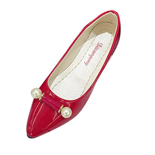 Transer Ladies Pearl Leisure Flats Shoes, Pregnant Women Slip on Comfort Casual Work Loafers Lazy Shoes Red